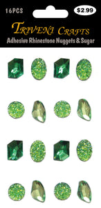 Adhesive Rhinestone Nuggets & Sugar - Green