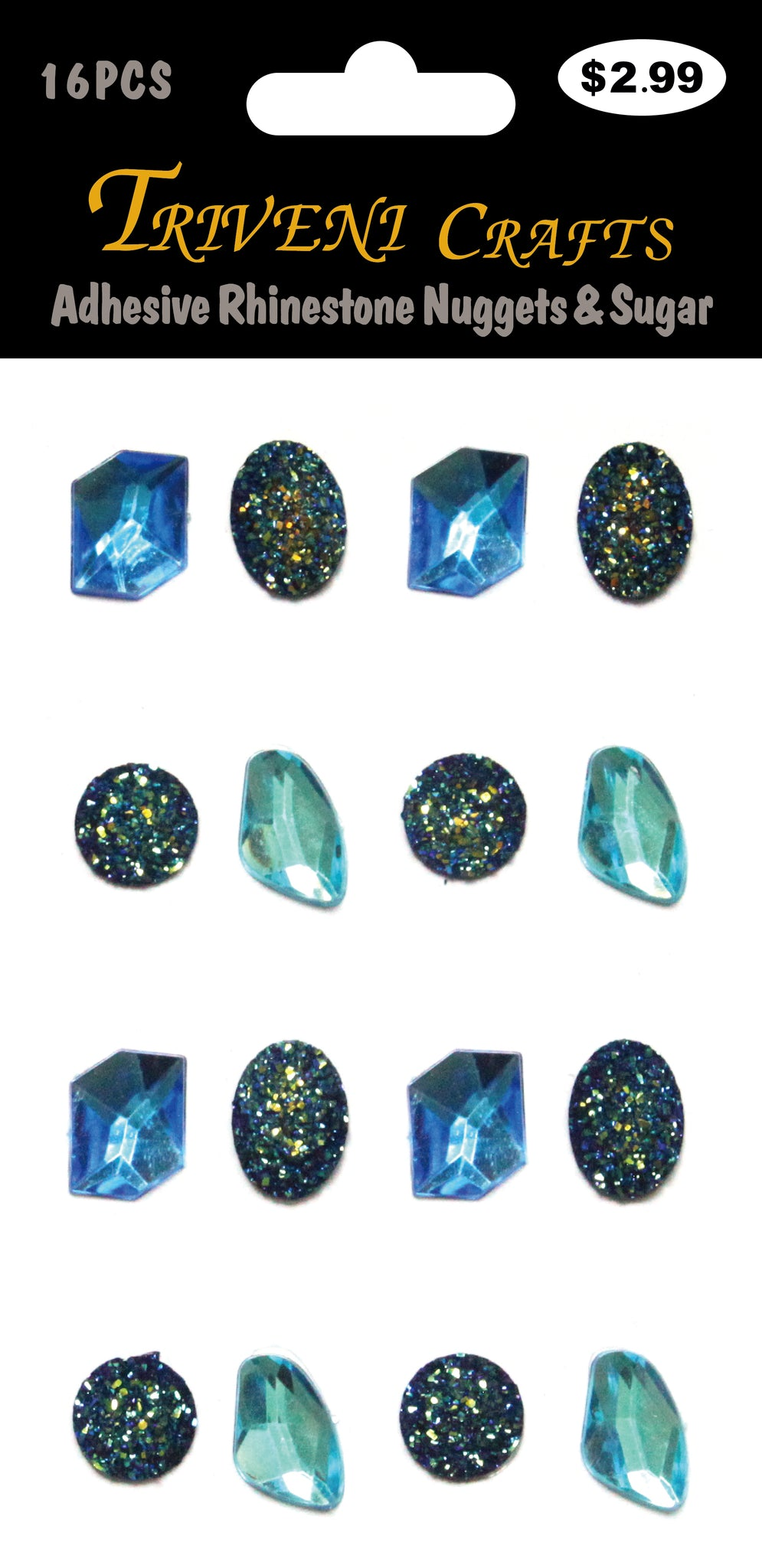 Adhesive Rhinestone Nuggets & Sugar - Blue