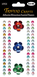 Adhesive Rhinestone Faceted Flowers