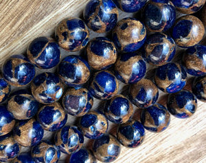 Natural Agate Blue Stripe Smooth Beads, Agate 8 mm, 10 mm Round Shape Beads