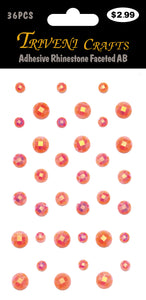 Adhesive Rhinestone Faceted AB - Peach
