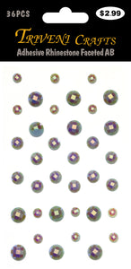Adhesive Rhinestone Faceted AB - Grey