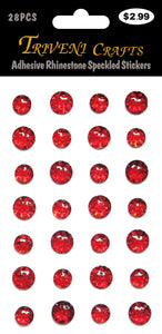 Adhesive Rhinestone Speckled Stickers -Red