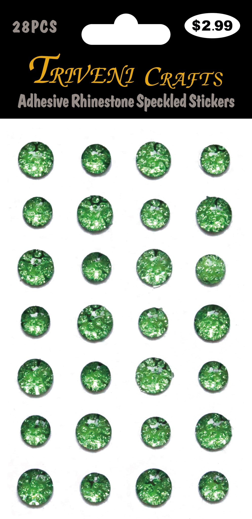Adhesive Rhinestone Speckled Stickers - Green