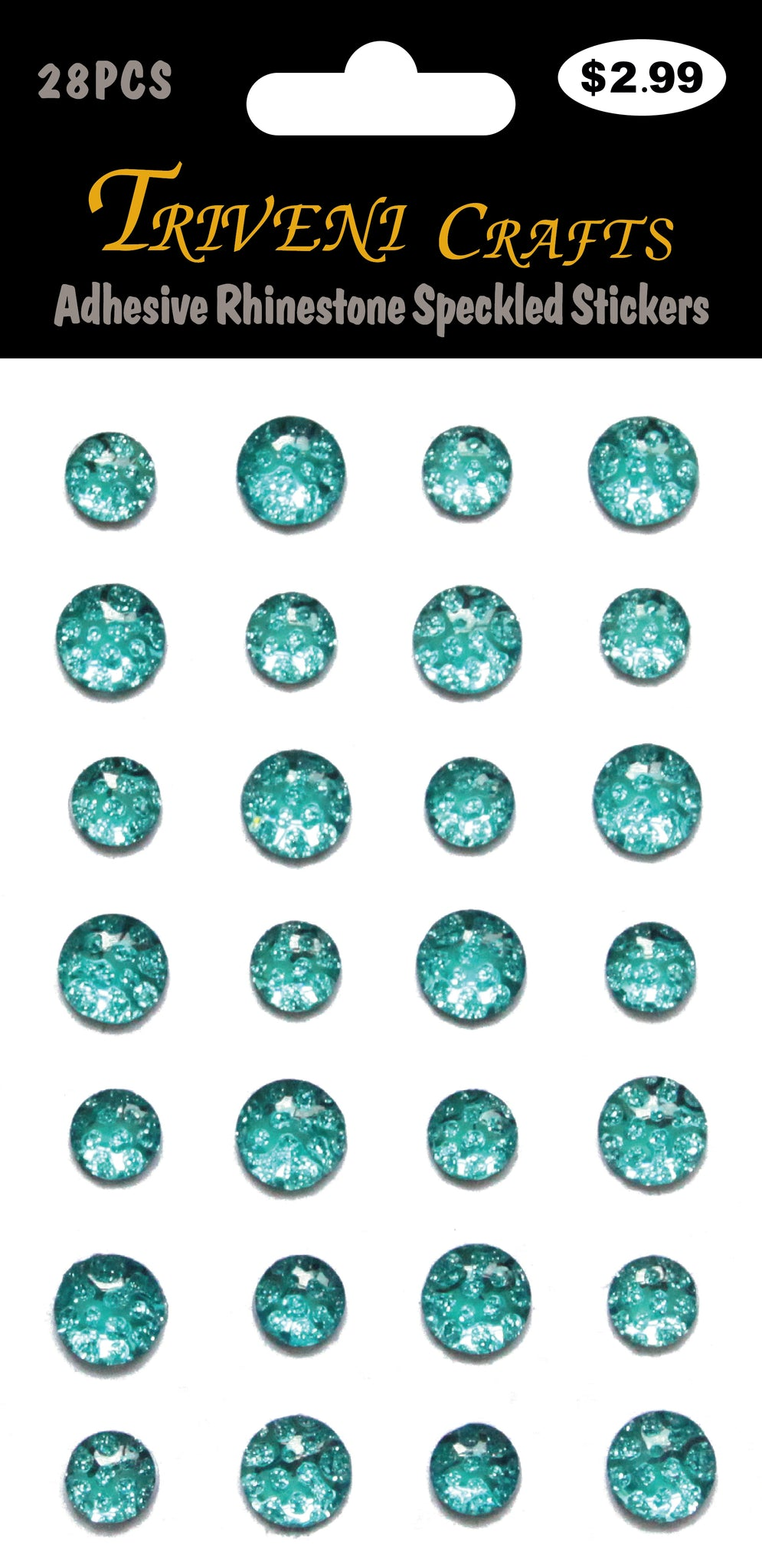 Adhesive Rhinestone Speckled Stickers - Teal
