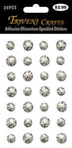 Adhesive Rhinestone Speckled AB Stickers - Silver