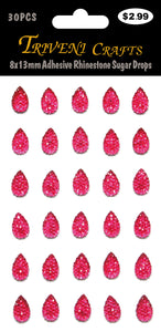 8x13mm Adhesive Rhinestone Sugar Drops - Hot Pink