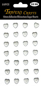 10mm Adhesive Rhinestone Sugar Hearts - Clear
