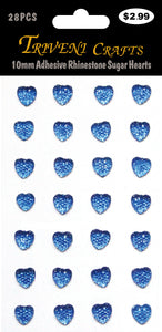 10mm Adhesive Rhinestone Sugar Hearts - Navy