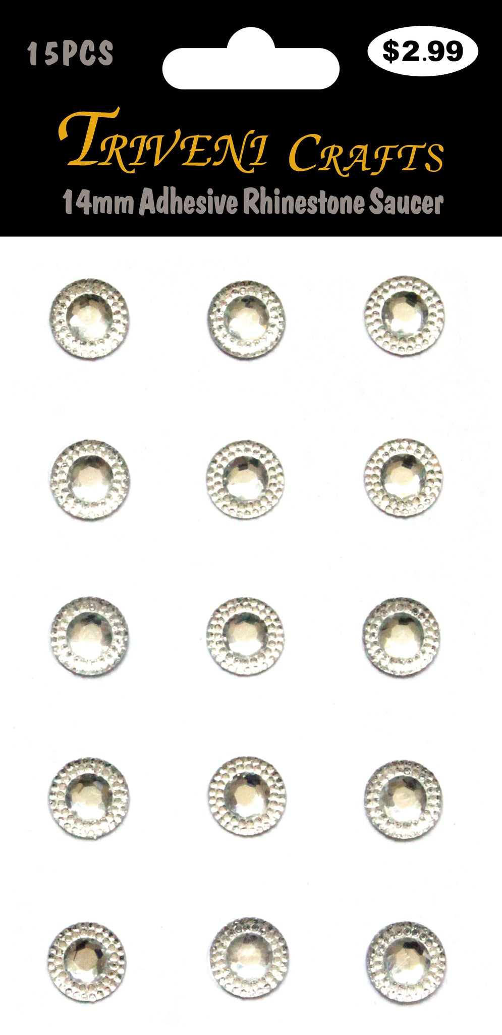 14mm Adhesive Rhinestone Saucer - Clear