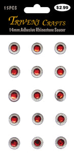 14mm Adhesive Rhinestone Saucer - Red