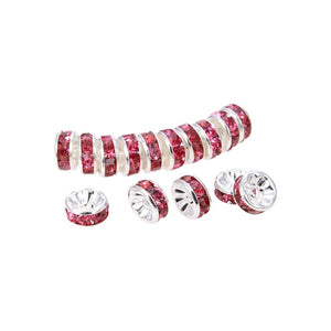 Silver Plated Light Siam Red Crystal Beads, Roundelle Spacer Beads