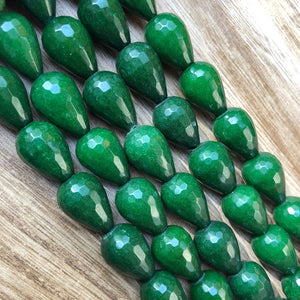 Natural Emerald Jade Beads, Emerald Jade 13x18 mm Faceted Drops Shape Beads