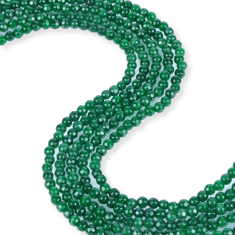 Natural Emerald Jade Beads, Jade 4 mm Beads, Emerald Jade Round Beads