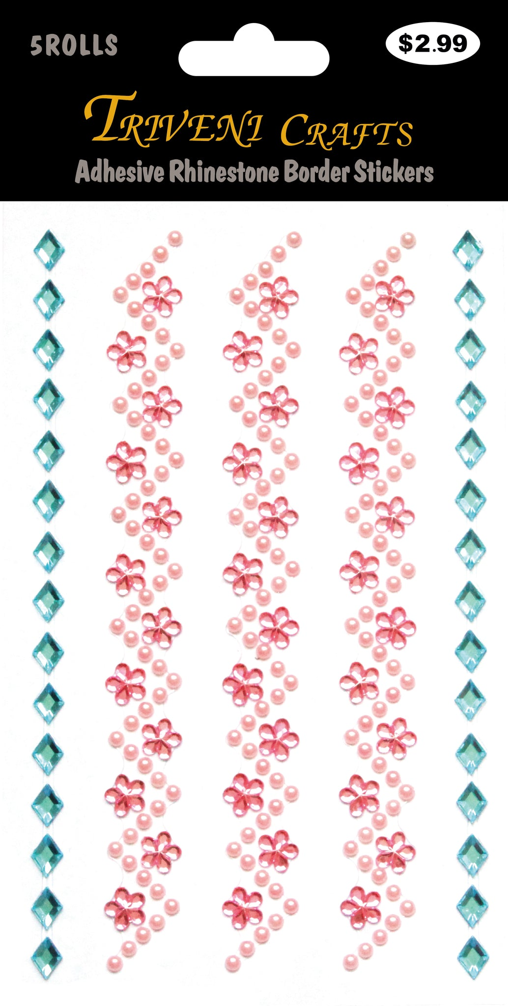 Adhesive Rhinestone Border Stickers # 815