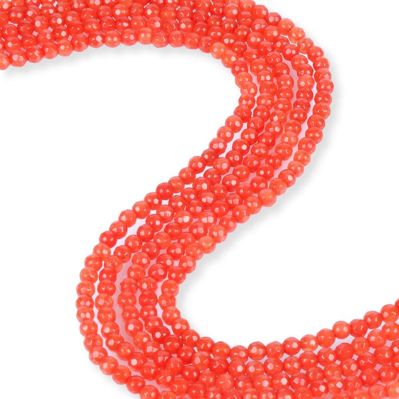 Natural Orange Agate Beads, Agate Faceted Beads, Round Shape 4 mm Agate Beads