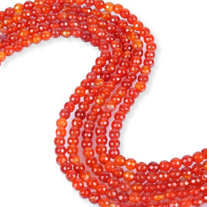 Natural Carnelian Beads, Carnelian Faceted Beads, Round Shape 6 mm Beads