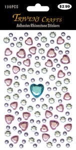 Adhesive Rhinestone Stickers Heart Mix