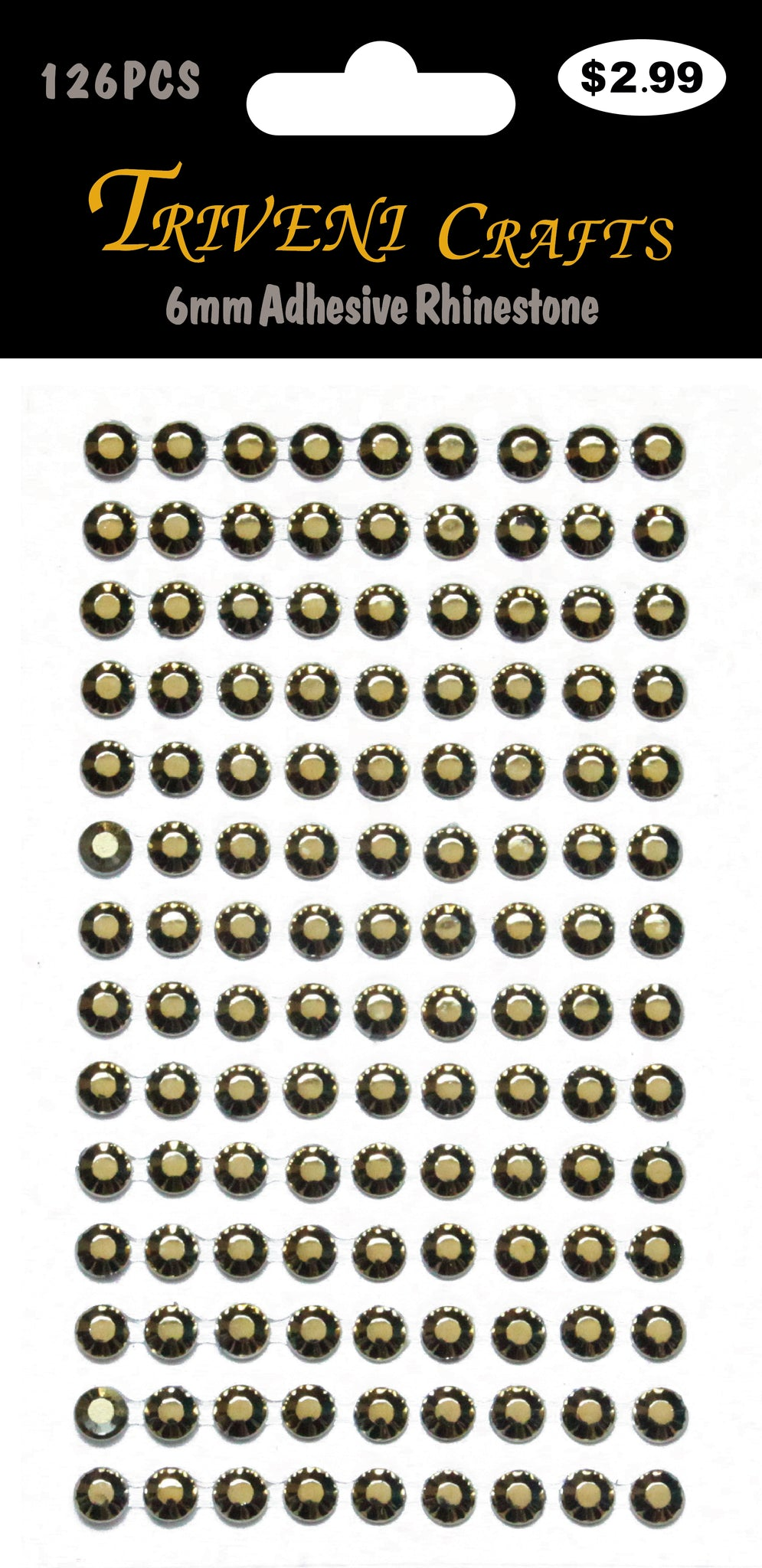 6mm Adhesive Rhinestone - Gold