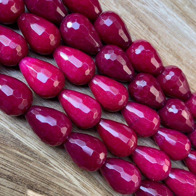 Natural Ruby Jade Smooth Beads, Ruby Zade Drops Shape 13x18 mm Faceted Beads