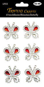 37mm Adhesive Rhinestone Butterfly - Red