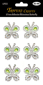 37mm Adhesive Rhinestone Butterfly - Green