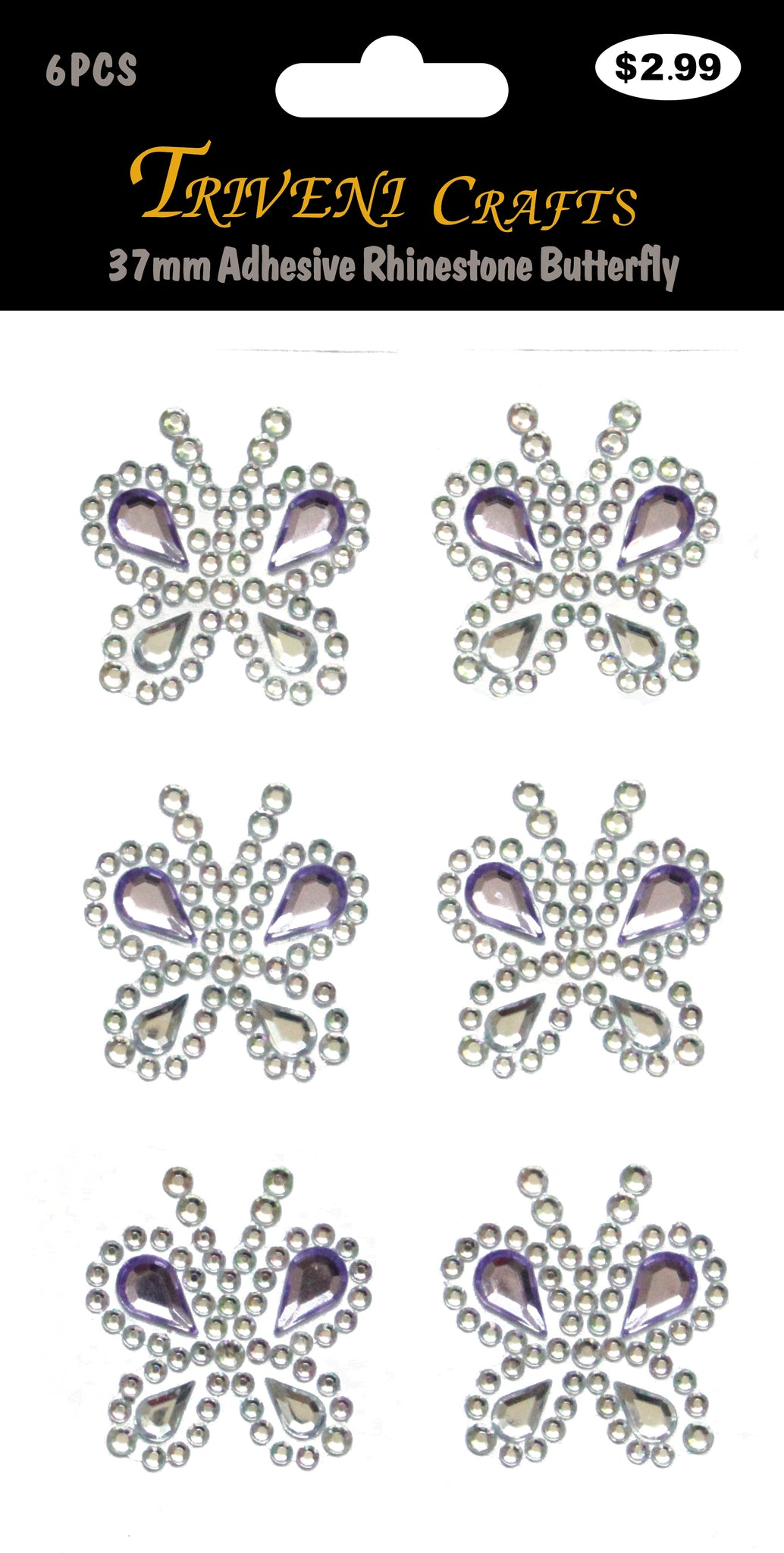 37mm Adhesive Rhinestone Butterfly - Purple
