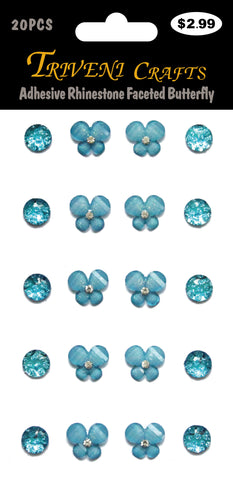 Adhesive Rhinestone Faceted Butterfly - Turquoise