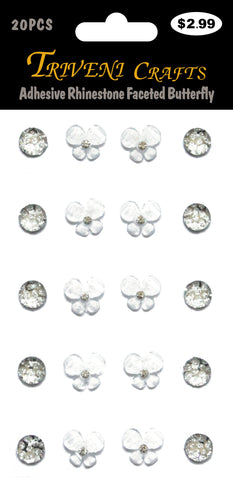 Adhesive Rhinestone Faceted Butterfly - White