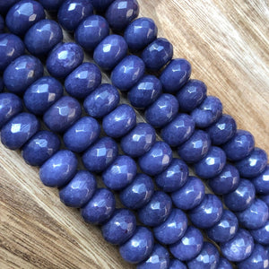 Natural Sapphire Jade Beads, Sapphire Jade 8x12 mm Faceted Roundelle Shape Beads