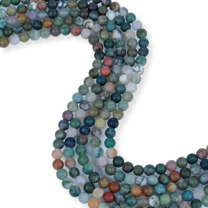 Natural Green Indian Agate Beads, 6 mm Smooth Beads, Agate Round Shape Beads