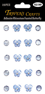 Adhesive Rhinestone Faceted Butterfly - Lt. Blue