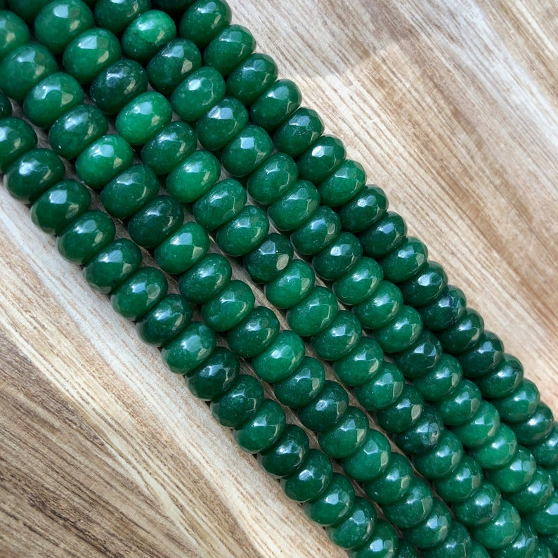 Natural Emerald Jade Beads, Emerald Jade 5x8 mm Roundelle Shape Faceted Beads