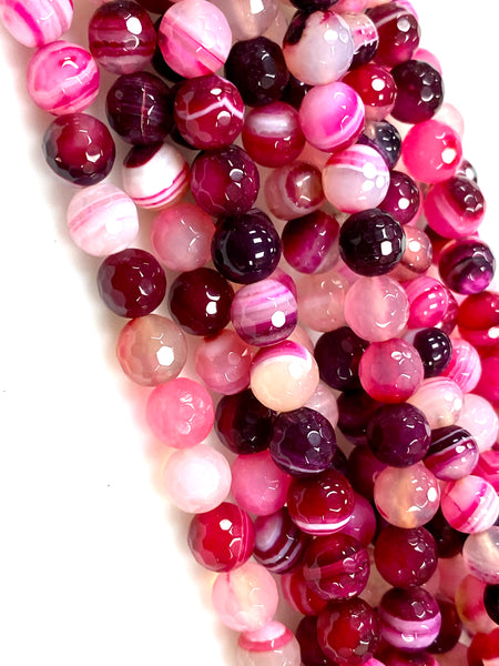 Natural Fuchsia Agate Beads / Faceted Round Shape Beads / Healing Energy Stone Beads / 8mm 2 Strands Beads