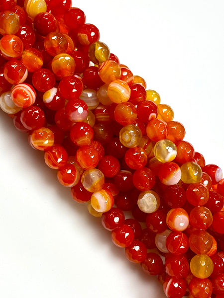 Natural Stripe Orange Agate Beads / Faceted Round Shape Beads / Healing Energy Stone Beads / 8mm 2 Strands Beads