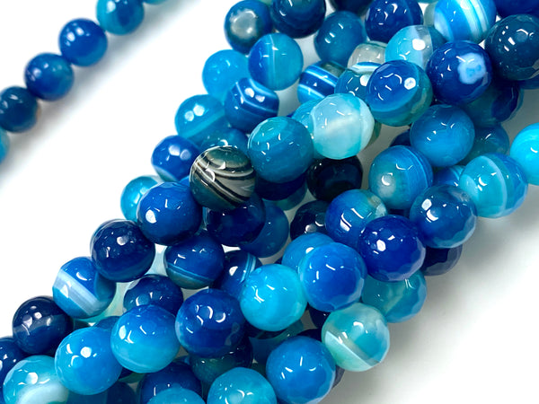 Natural Stripe Blue Agate Beads / Faceted Round Shape Beads / Healing Energy Stone Beads / 8mm 2 Strands Beads
