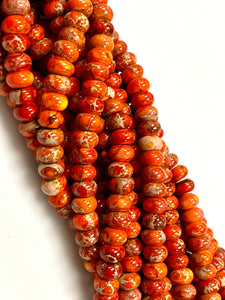 Natural Orange Imperial Jasper Beads / Faceted Rondelle Shape Beads / Healing Energy Stone Beads / 8mm 2 Strands Beads