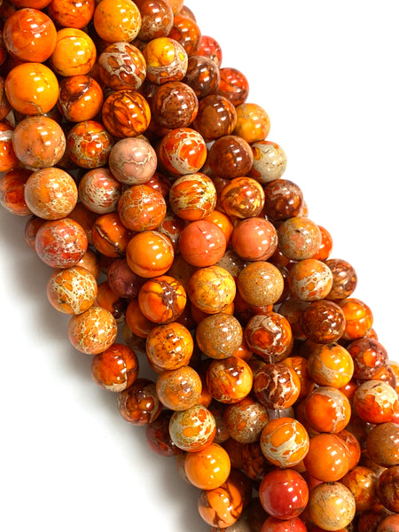 Natural Orange Imperial Jasper Beads / Faceted Round Shape Beads / Healing Energy Stone Beads / 8mm 2 Strand Gemstone Beads