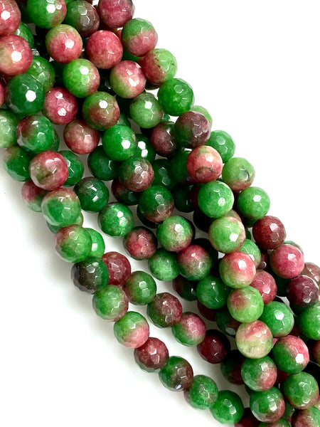 Natural Bubble Gum Agate Beads / Faceted Round Shape Beads / Healing Energy Stone Beads / 8mm 2 Strand Gemstone Beads