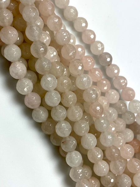 Natural Rose Quartz Beads / Faceted Round Shape Beads / Healing Energy Stone Beads / 8mm 2 Strands Beads