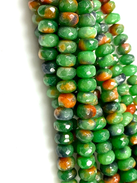 Natural Green Imperial Jasper Beads / Faceted Rondelle Shape Beads / Healing Energy Stone Beads / 8mm 2 Strand Gemstone Beads