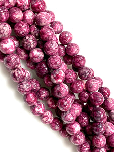 Natural Rain Jasper Beads / Faceted Round Shape Beads / Healing Energy Stone Beads / 8mm 2 Strand Gemstone Beads