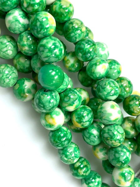 Natural Green Rain Jasper Beads / Faceted Round Shape Beads / Healing Energy Stone Beads / 8mm 2 Strand Gemstone Beads