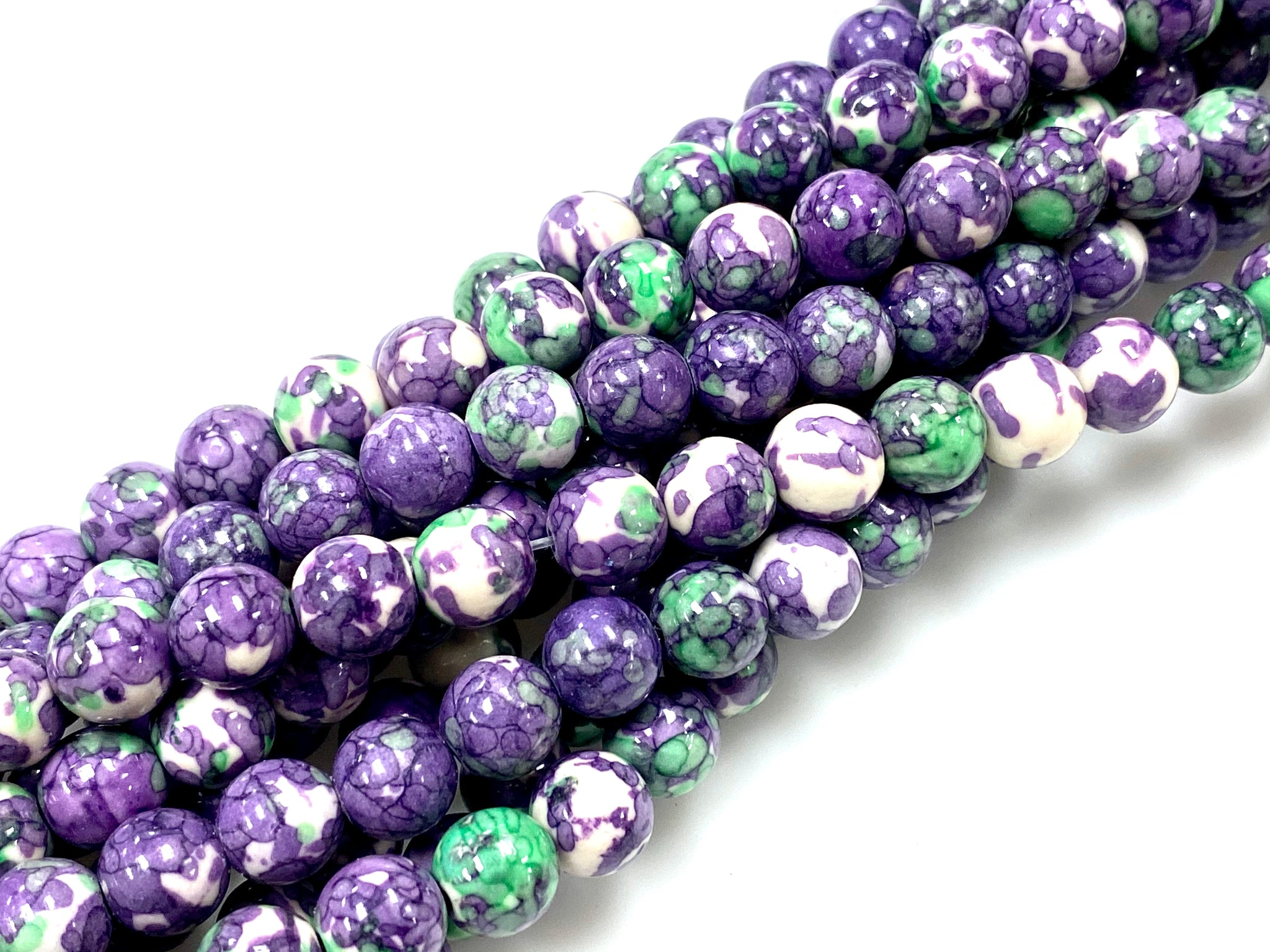Natural Purple Rain Jasper Beads / Faceted Round Shape Beads / Healing Energy Stone Beads / 8mm 2 Strand Gemstone Beads