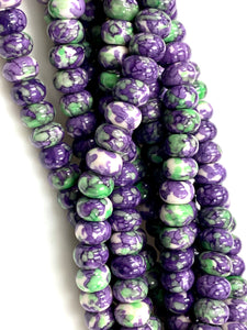 Natural Rain Jasper Beads / Faceted Rondelle Shape Beads / Healing Energy Stone Beads / 8mm 2 Strand Gemstone Beads