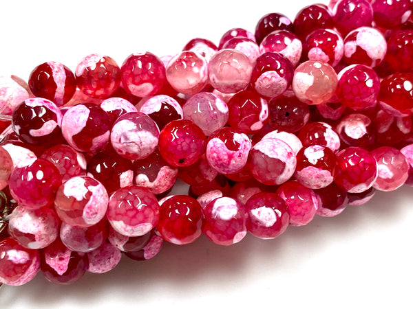Natural Stripe Red Agate Beads / Faceted Round Shape Beads / Healing Energy Stone Beads / 8mm 2 Strand Gemstone Beads