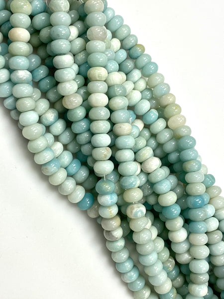 Natural Amazonite Beads / Faceted Rondelle Shape Beads / Healing Energy Stone Beads / 8mm 2 Strand Gemstone Beads