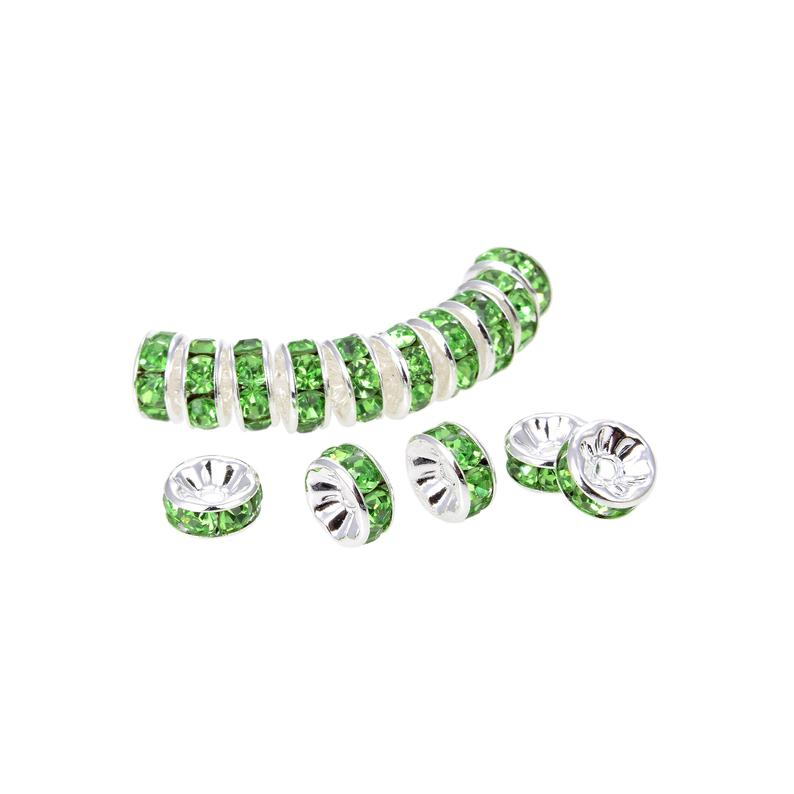 Silver Plated Peridot Crystal Spacer Beads, Roundelle Spacer Beads