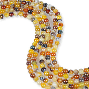 Natural Multi-Color Honey Agate Beads, Round Shape Beads, 6 mm Smooth Beads