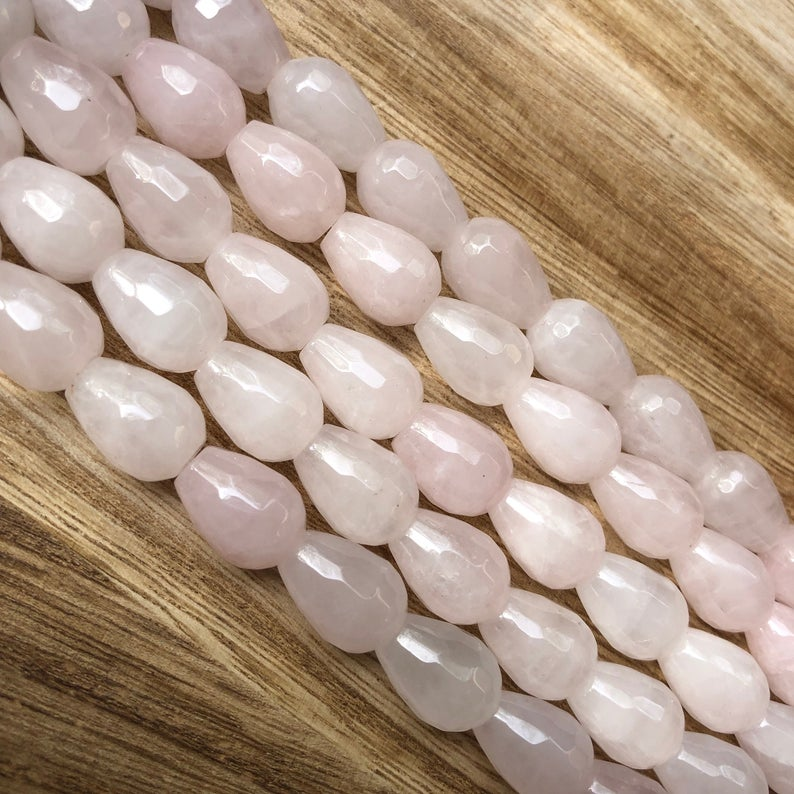 Natural Rose Quartz Beads, Rose Quartz 10x14 mm Drops Shape Faceted Beads